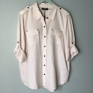 karl lagerfeld button up pinstripe casual top m